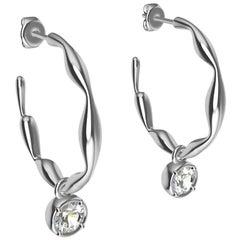 18 Karat White Gold Dangle GIA Diamond Earring Hoops