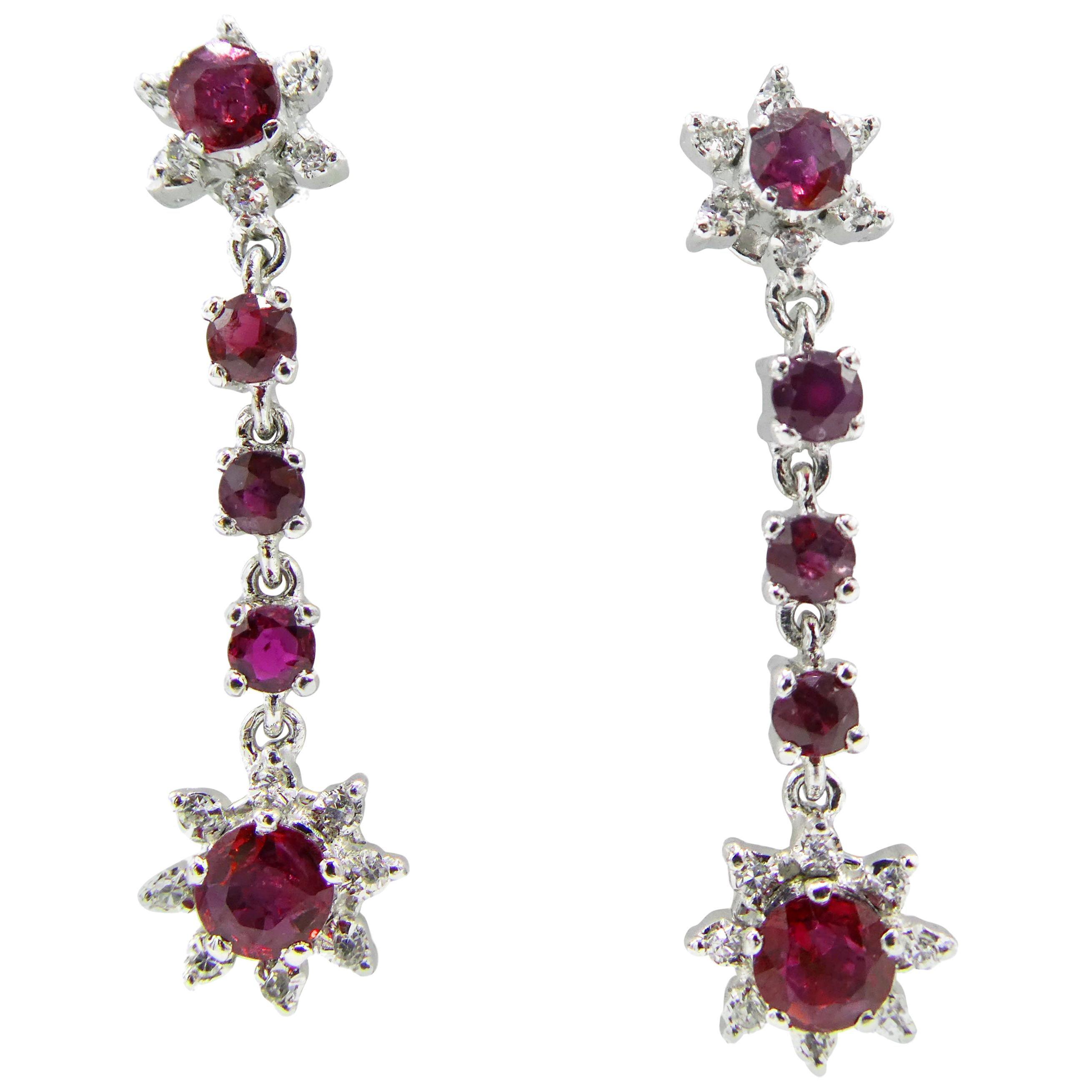 18 Karat White Gold Dangle Ruby and Diamond Drop Starburst Earrings