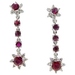 18 Karat White Gold Dangle Ruby and Diamond Drop Starburst Earrings