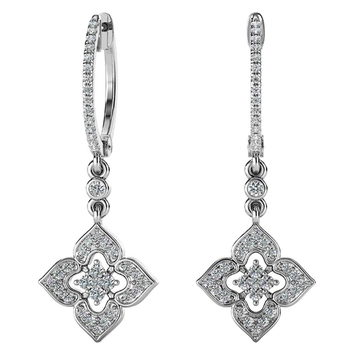 18 Karat White Gold Dangling Halo Diamond Earrings '2/5 Carat'