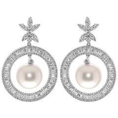 18 Karat White Gold Dangling Hoop Drop Earrings Pearl Brilliants and Baguettes