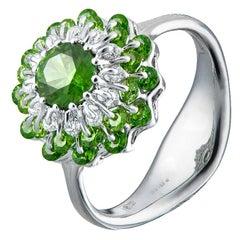 18 Karat White Gold Demantoid Garnet Diamond Ring