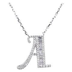 18 Karat White Gold Diamond A Necklace