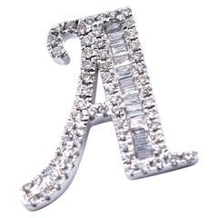18 Karat White Gold Diamond A Pendant
