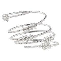 18 Karat White Gold Diamond Adjustable Bangle