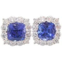 18 Karat White Gold Diamond AGL Certified Tanzanite Stud Earrings