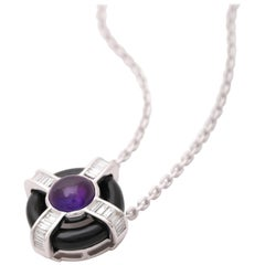 18 Karat White Gold Diamond Amethyst and Onyx Pendant