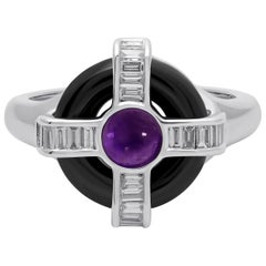 18 Karat White Gold Diamond Amethyst and Onyx Ring