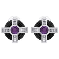 18 Karat White Gold Diamond Amethyst and Onyx Stud Earrings