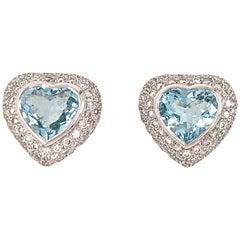 18 Karat White Gold Diamond and Aquamarine Heart Earrings