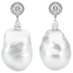 18 Karat White Gold Diamond and Baroque Pearl Earring