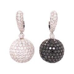 18 Karat White Gold Diamond and Black Diamond Ball Earrings