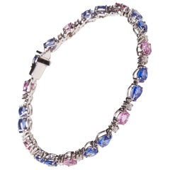 18 Karat White Gold Diamond and Blue and Pink Sapphire Bracelet