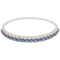 18 Karat White Gold Diamond and Blue Sapphire Bangle Made in Italy with Box