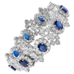 18 Karat White Gold Diamond and Blue Sapphire Bracelet