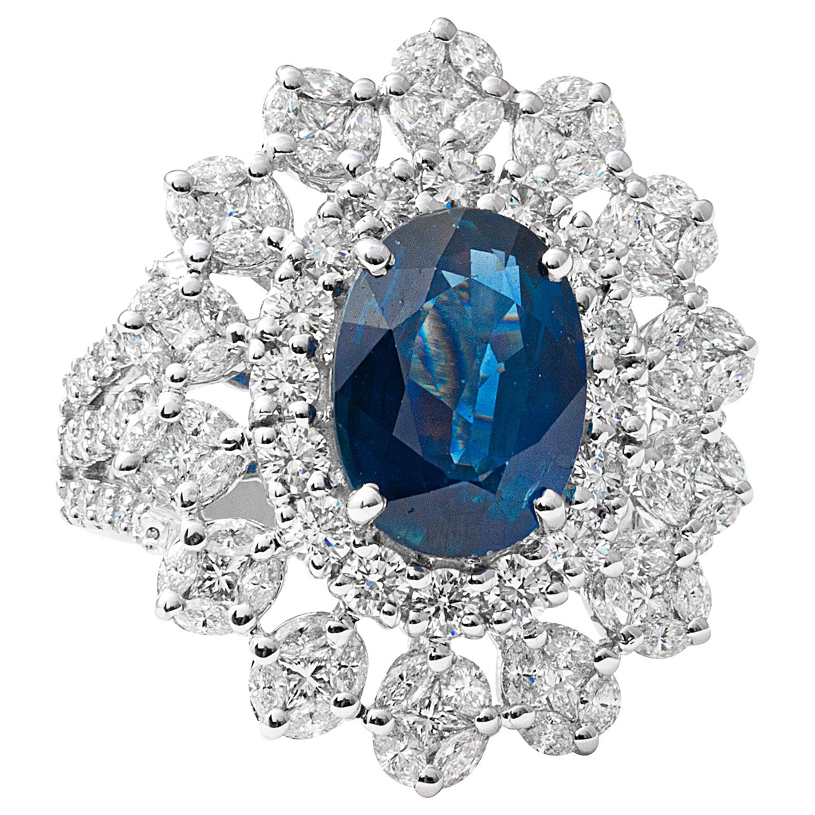 18 Karat White Gold Diamond and Blue Sapphire Cocktail Ring