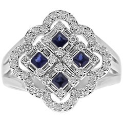 18 Karat White Gold Diamond and Blue Sapphire gemstones Ring