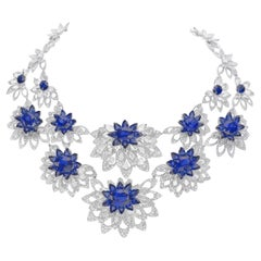 18 Karat White Gold Diamond and Blue Sapphire Necklace