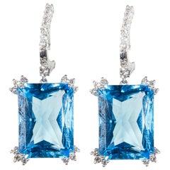 18 Karat White Gold Diamond and Blue Topaz Dangle Earrings