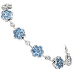 18 Karat White Gold Diamond and Blue Topaz Flower Bracelet
