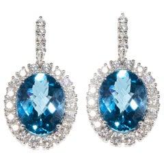 18 Karat White Gold Diamond and Blue Topaz Royal  Dangle Earrings