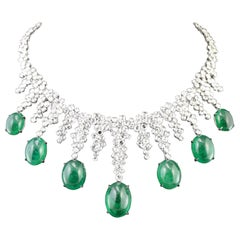 "18 Karat White Gold Diamond and Cabochon Emerald ""Icecicle"" Necklace"