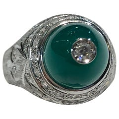 18 Karat White Gold Diamond and Chrysoprase Ring