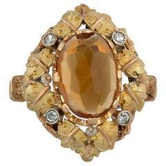 18 Karat White Gold Diamond and Citrine Cluster Ring