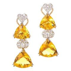 18 Karat White Gold Diamond and Citrine Drop Earrings