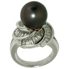 18 Karat White Gold, Diamond and Cultured Pearl Ring