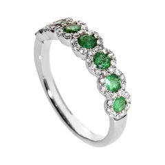 18 Karat White Gold Diamond and Emerald Band Ring