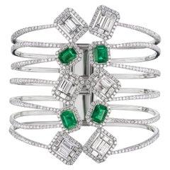 18 Karat White Gold Diamond and Emerald Cuff Bangle