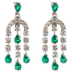 18 Karat White Gold Diamond and Emerald Dangle Earrings