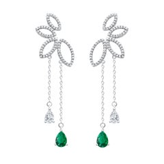 18 Karat White Gold Diamond and Emerald Dew Drop Earrings