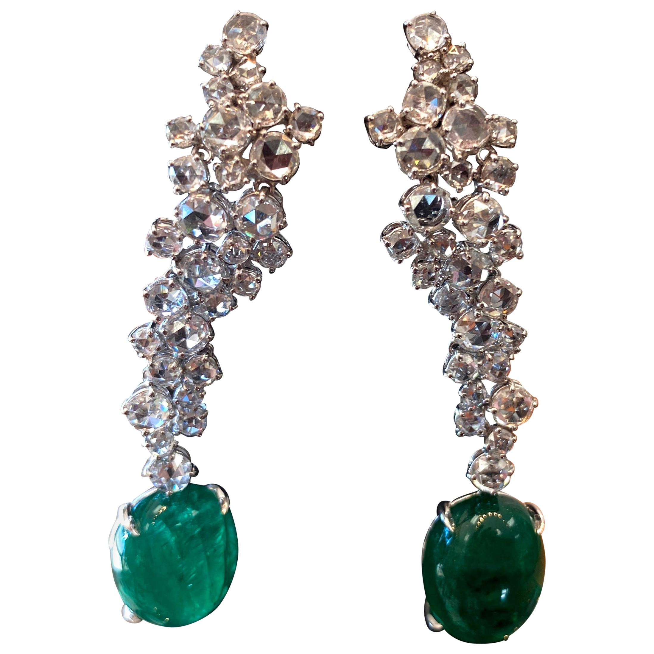 18 Karat White Gold Diamond and Emerald Drop Earrings