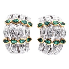 18 Karat White Gold Diamond and Emerald Intricate Dome Style Earrings