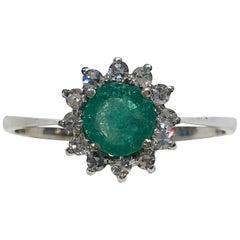 18 Karat White Gold Diamond and Emerald Ring