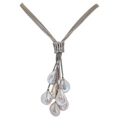18 Karat White Gold, Diamond and Freshwater Pearl Necklace