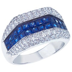 18 Karat White Gold Diamond and Invisible Set Square Sapphire Ring