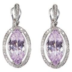 18 Karat White Gold Diamond and Kunzit Dangle Earrings