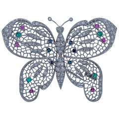 18 Karat White Gold, Diamond, and Multi-Gem Butterfly Brooch