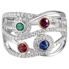 18 Karat White Gold, Diamond and Multi Gemstone Ring