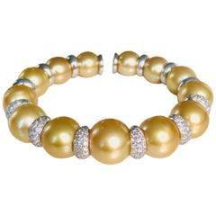 18 Karat White Gold Diamond and Natural Color Golden Pearls Bangle Bracelet