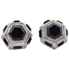 18 Karat White Gold Diamond and Onyx Earrings