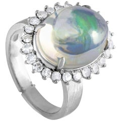 18 Karat White Gold Diamond and Opal Ring