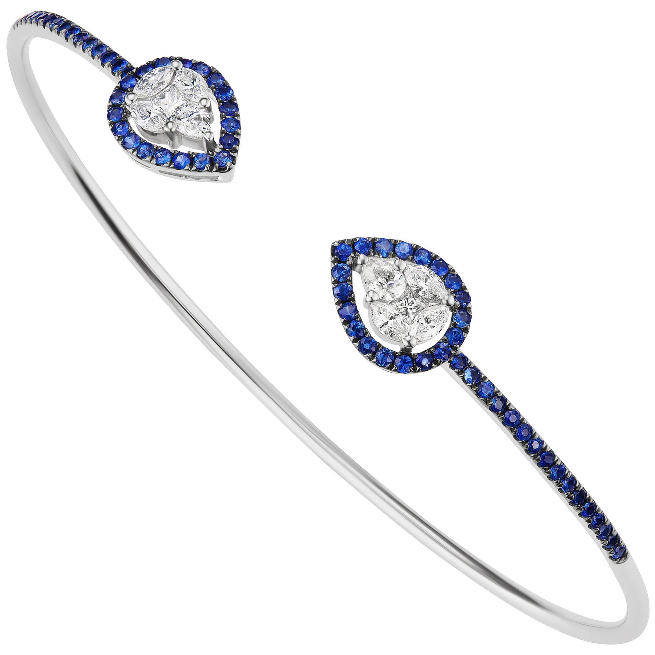 18 Karat White Gold Diamond and Pave Blue Sapphire Cuff Bangle