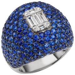 18 Karat White Gold Diamond and Pave Blue Sapphire Dome Ring