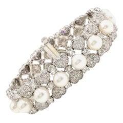 18 Karat White Gold Diamond and Pearl Bracelet