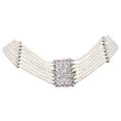 18 Karat White Gold Diamond and Pearl Collar Pendant
