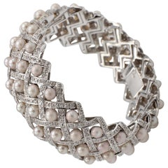 18 Karat White Gold Diamond and Pearl Woven Bracelet